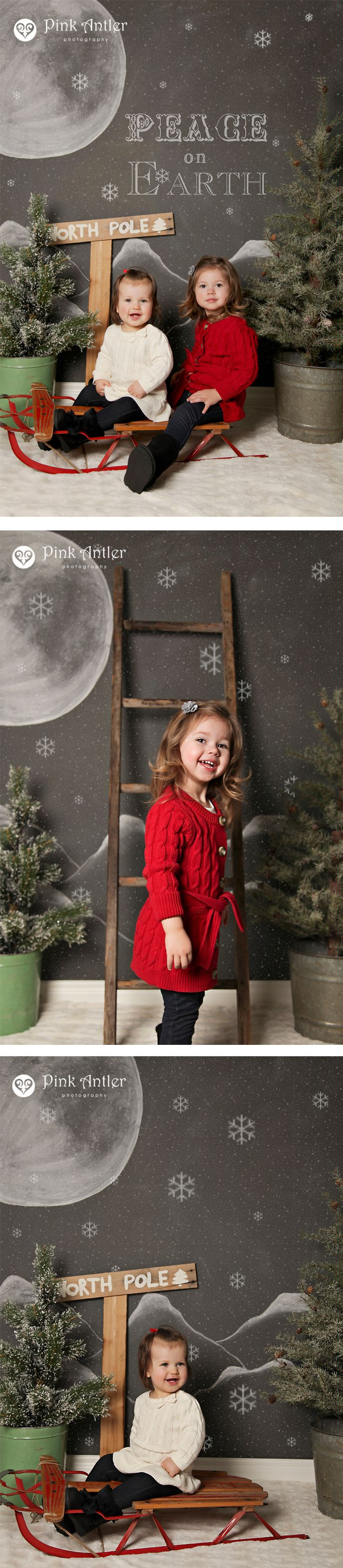 Adorable and unique children's Christmas portraits with a chalkboard backdrop.