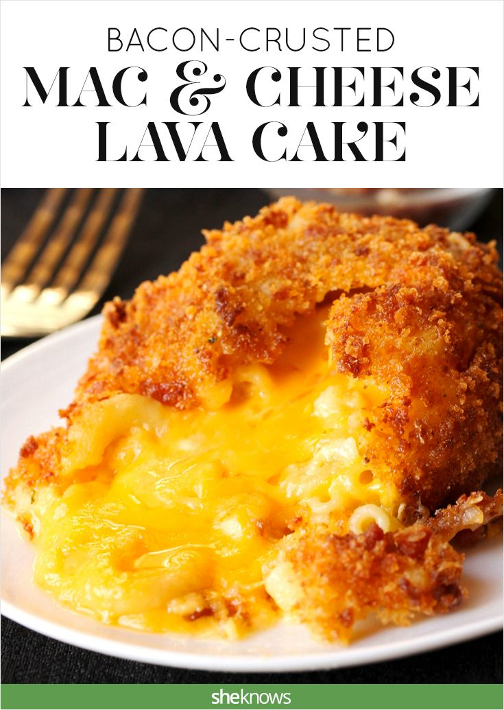 Deep-fried mac and cheese lava cake with a crispy bacon crust is a comfort food dream come true