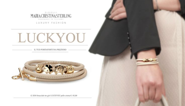 Maria Cristina Sterling Gioielli moda  bracciali Luckyou donna argento dorato e pelle Made in Tuscany