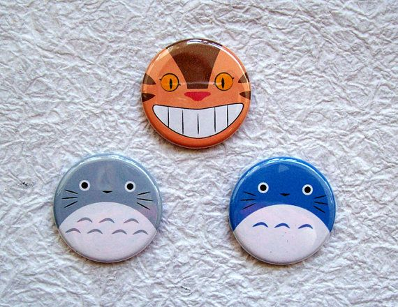 Totoro and Cat Bus  125 Anime Pinback buttons Set of 3 by sacari, $5.25