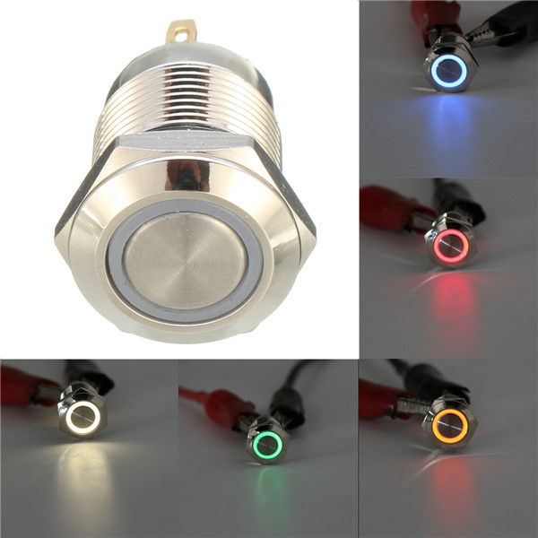 Dc 12v 12mm 4 Pin Momentary Switch Led Light Metal Push Button Waterproof Switch Led Lights Led Switch