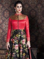 Opulent Black and Red Print Work Anarkali Salwar Kameez