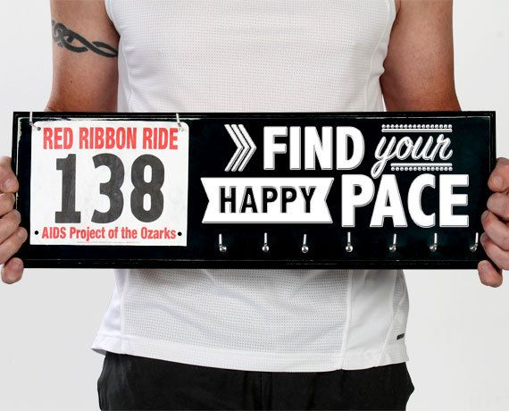 Running Medal Holder and Race Bib Hanger by StrutYourStuffSignCo
