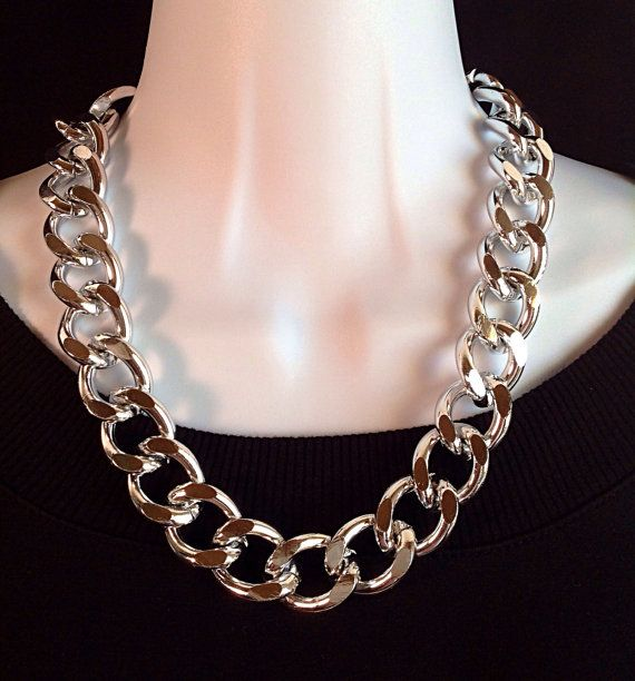 Chunky chain necklace. Silver chunky chain necklace. Extra large silver chunky chain necklace. By ChicMillies.