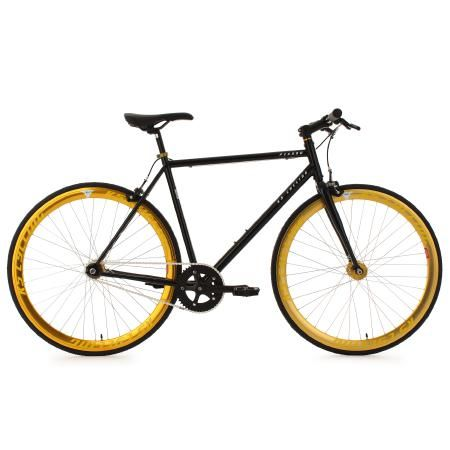 KS Cycling | Fixie Fitnessbike 28 Zoll Pegado schwarz-gold Herren | schwarz | VAOLA