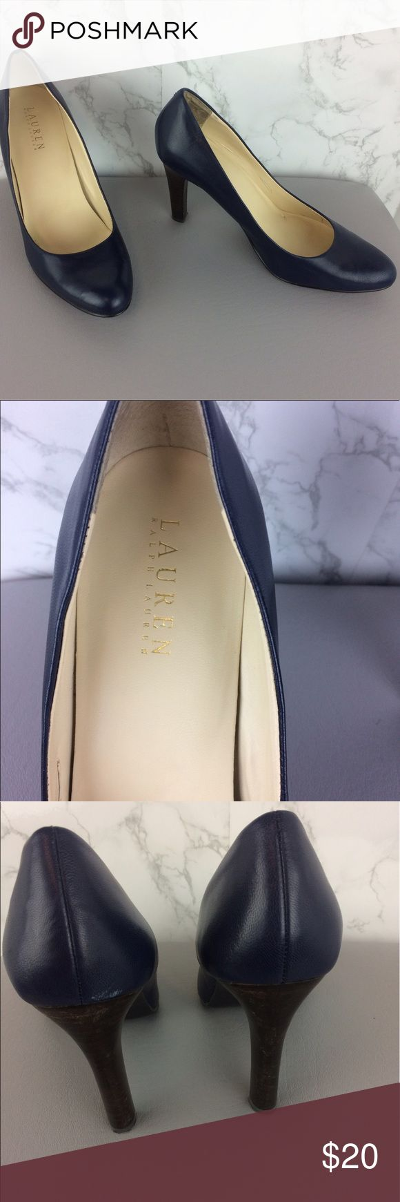 """LAUREN RALPH LAUREN Navy Classic Pumps Size 9 LAUREN RALPH LAUREN Heels. Navy Classic Pumps.  Leather upper.  Great used condition.  Scuff on back heel that polish should cover.  Please refer to pictures for condition. 4"""" Heels.  Size 9. Lauren Ralph Lauren Shoes Heels"""