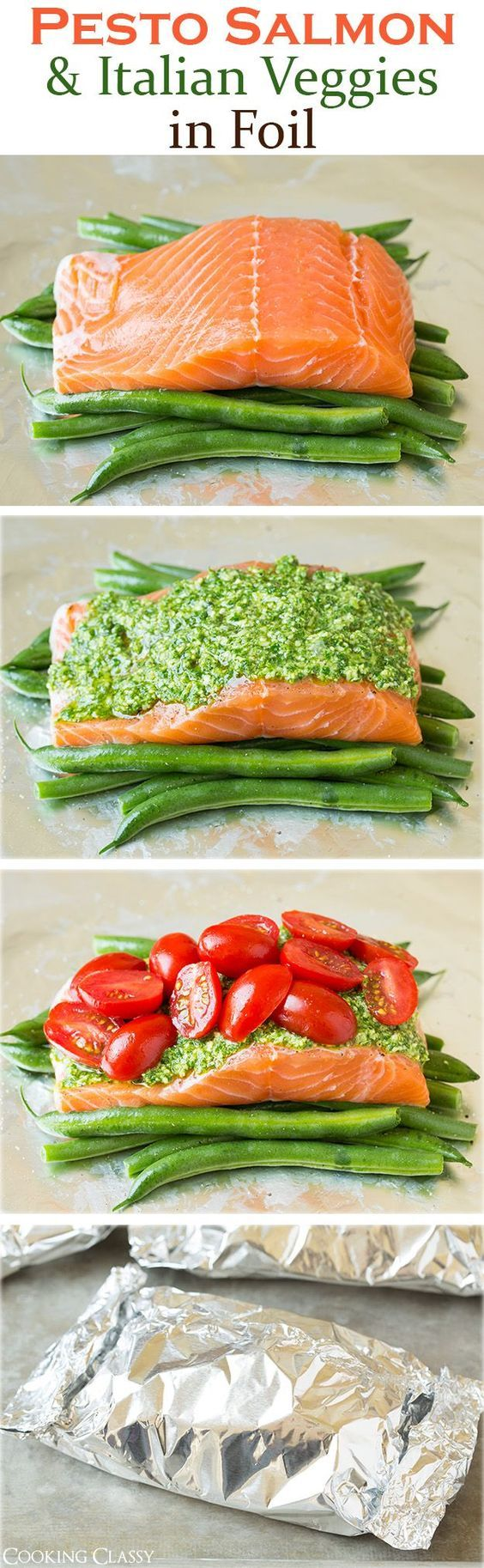Pesto Salmon and Italian Veggies in Foil - this is an easy, flavorful dinner that is sure to please! So delicious!