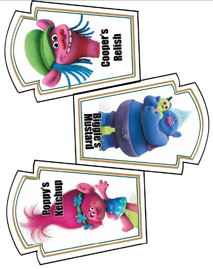 Relish, Ketchup & Mustard Labels---- http://daisycelebrates.blogspot.com/2016/10/trolls-movie-birthday-party-printable.html#!/2016/10/trolls-movie-birthday-party-printable.html