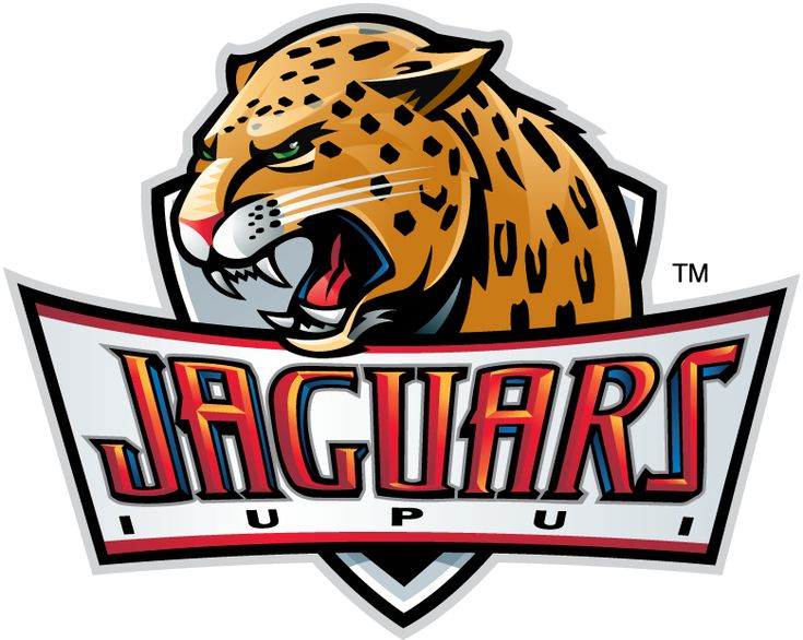 IUPUI Jaguars Primary Logo (2008) - Jaguar Head atop ornate script.