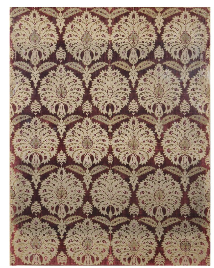 AN EXCEPTIONAL OTTOMAN VOIDED VELVET AND METAL THREAD ÇATMA PANEL