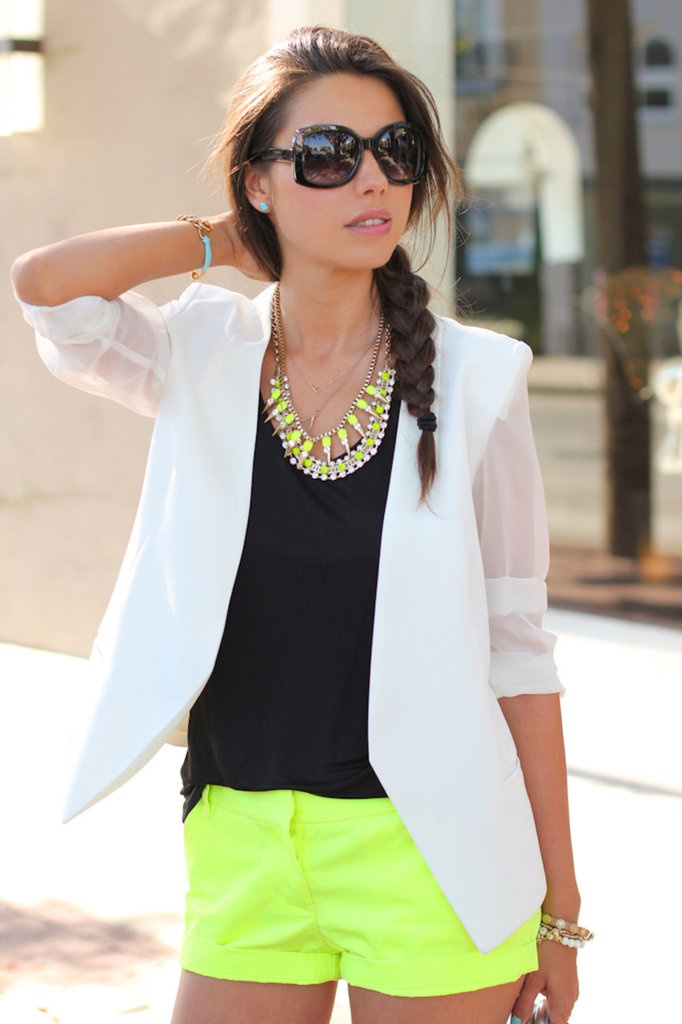 love these j.crew neon shorts, the black top and necklace!