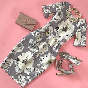ASOS PETITE Smart Dress with V Back in Gray Floral Print, Jeffrey Campbell Minari Sandal, YSL saint laurent blush wallet on chain clutch