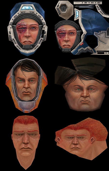 Textures I made for 3d headmodels I found on the internet.