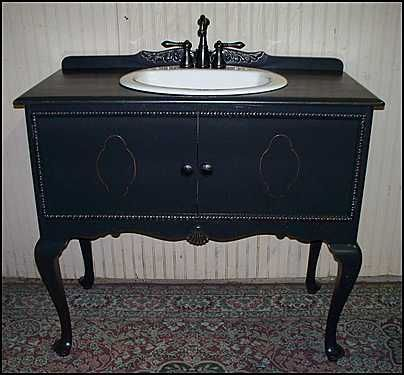Elegance is an ebonized sideboard repurposed as a bathroom vanity. --MC - Antique Black Bathroom Vanity My Web Value