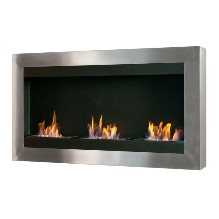 Ignis WMF-010 Magnum Wall Mounted Ventless Ethanol Fireplace - black, stainless steel, Black/Silver black/ stainless steel (Glass)