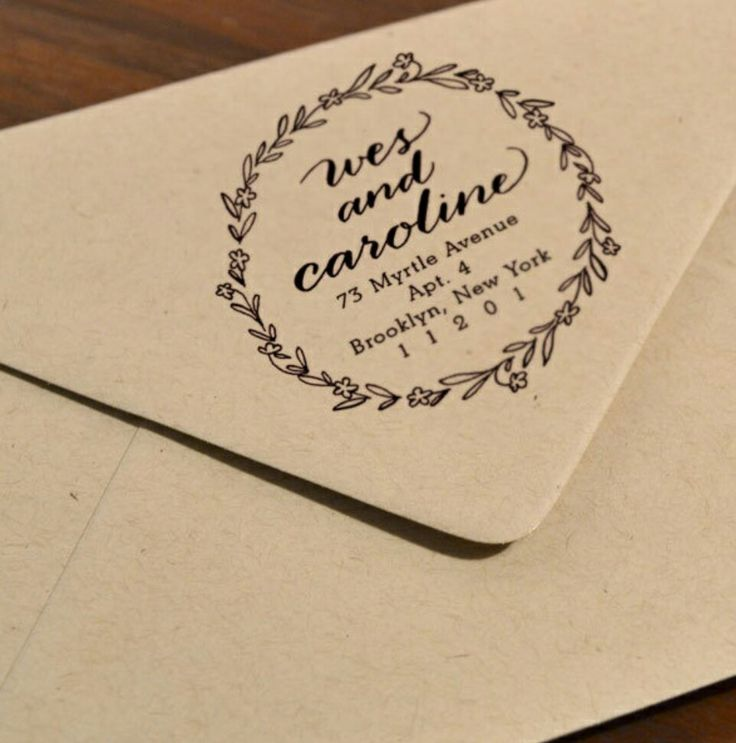 how to return address wedding envelopes%0A Personalized Calligraphy Floral Wreath stamp  Trial by Cupcakes