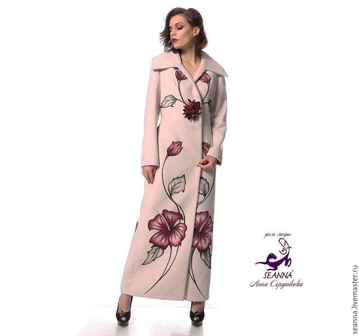 """Купить Кашемировое пальто """"Гибискус"""" с ручной росписью и вышивкой - пальто длинное, пальто демисезонное"""