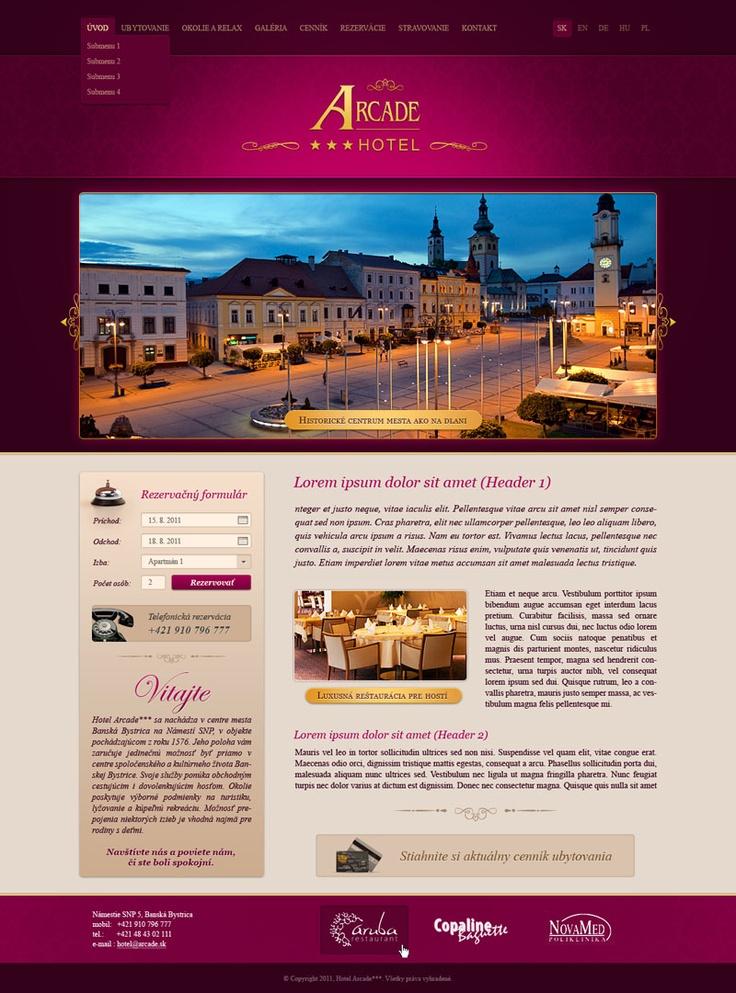 Web dizajn pre hotel Arcade v Banskej Bystrici