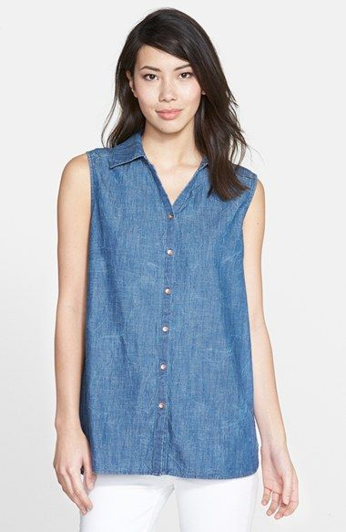 Christopher Blue 'Joy' Sleeveless Chambray Shirt available at #Nordstrom
