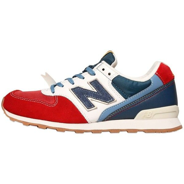 NEW BALANCE 996 Suede Nylon Sneakers ($89) ❤ liked on Polyvore featuring shoes, sneakers, new balance, red, new balance footwear, new balance shoes, new balance trainers and red suede sneakers