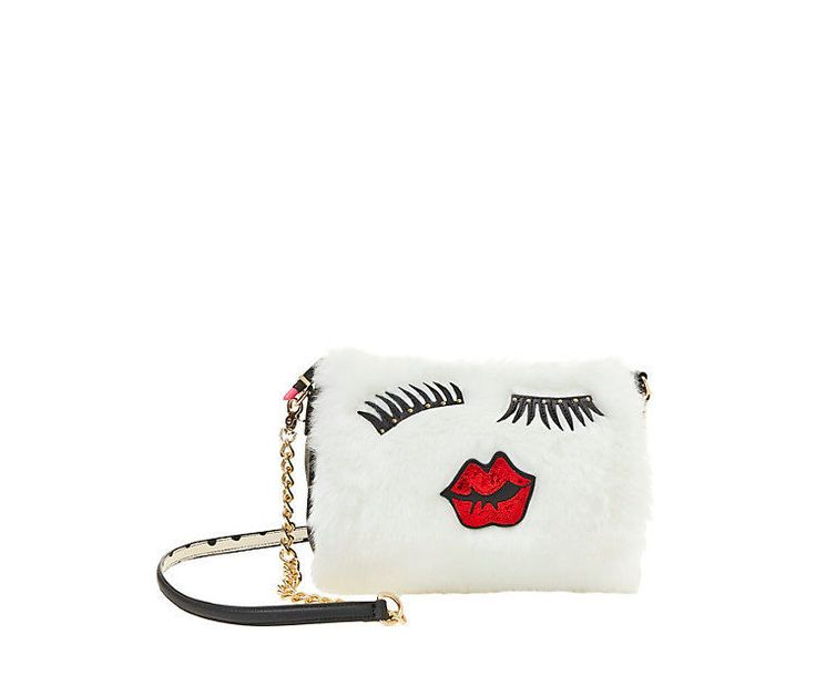 Betsey Johnson FUR GOODNESS SAKE CROSSBODY HANDMUFF BJ53400 WHITE, Lips Lashes #BetseyJohnson #MessengerCrossBody