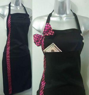 Salon Stylist Apron Black and Pink Check