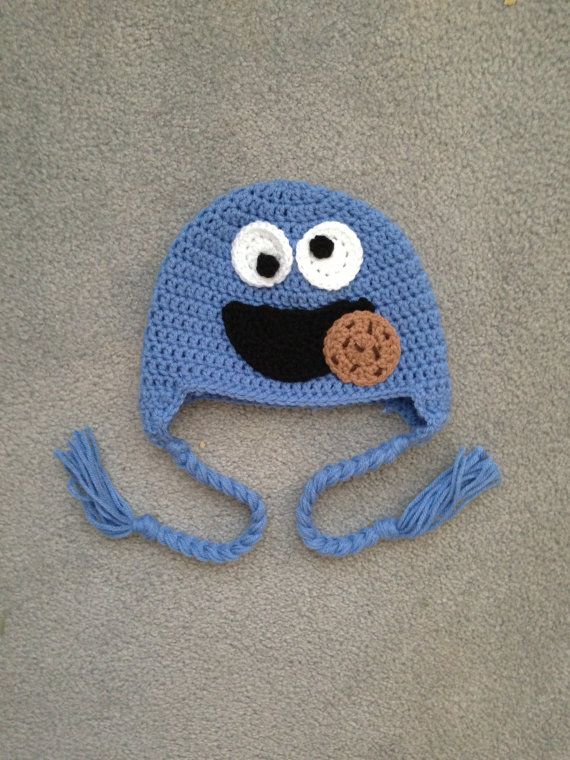 Crochet Sesame Street Cookie Monster Earflap Beanie Hat - $24.00