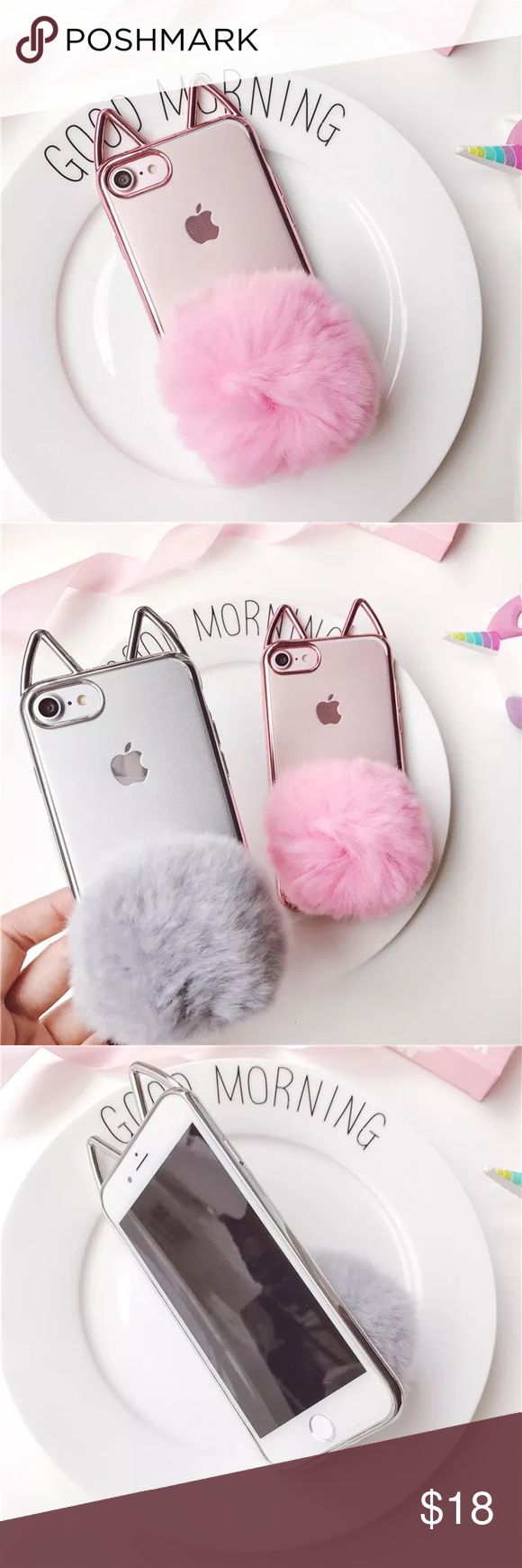 iPhone 7  cat ear bumper furry Pom phone case ▶️shinny rose gold bumper with cat  ear and little furry Pom at the back  ▶️brand new and high quality  ▶️hard crystal clear acrylic back panel ▶️to protect your phone from shock and friction, anti-vibration and prevent breaking  ▶️precisely cut openings to allow full access to all the functions your iPhone 7  ▶️easy to install and disassemble  ▶️match your different style and occasion Accessories Phone Cases
