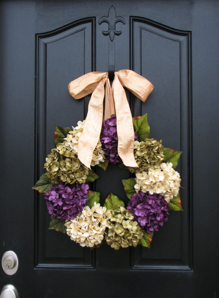 Spring Wreaths, Hydrangea Wreath, Spring Decorations, Online Wreath, Spring Hydrangeas, Spring Home Decor. $85.00, via Etsy.