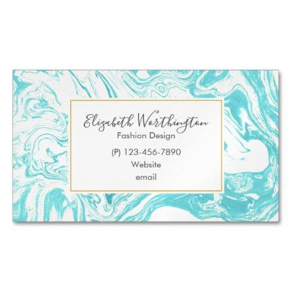 Cool Marble Design in Turquoise and Cream Magnetic Business Card - elegant gifts gift ideas custom presents