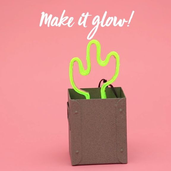 Make your very own neon cactus sign to decorate your nightstand at home with by following this video DIY tutorial.