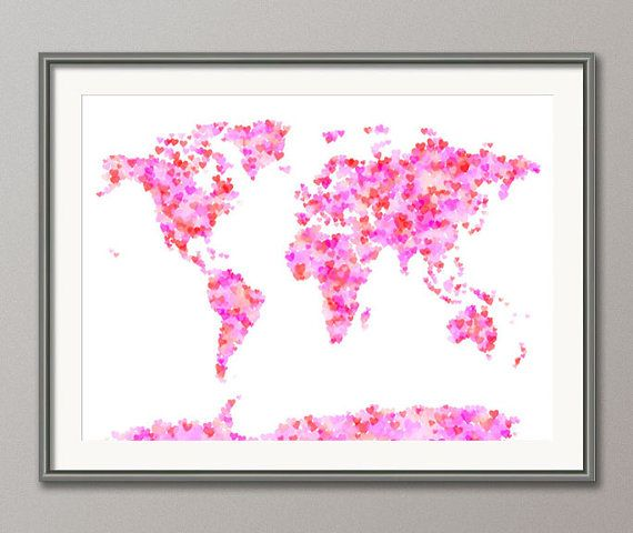 Tiny pink hearts world #map. I've done illustrations like this!