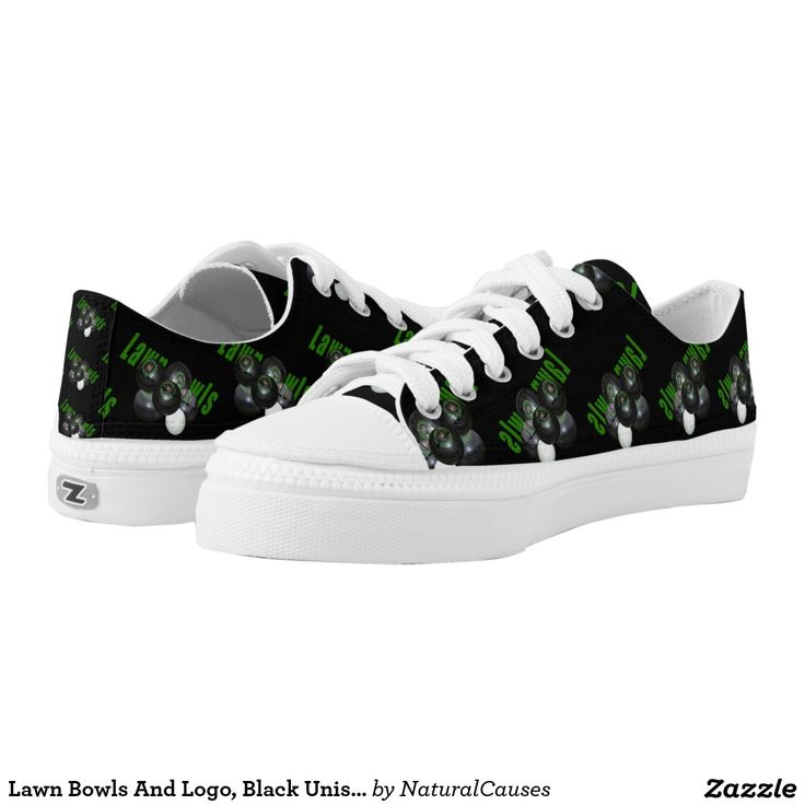 Lawn Bowls And Logo, Black Unisex Zips Sneakers