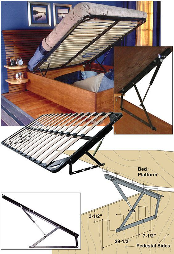 Woodworker.com: STORAGE BED FRAME AND LIFT KITS Queen with bed platform 362.94 incl shipping.: