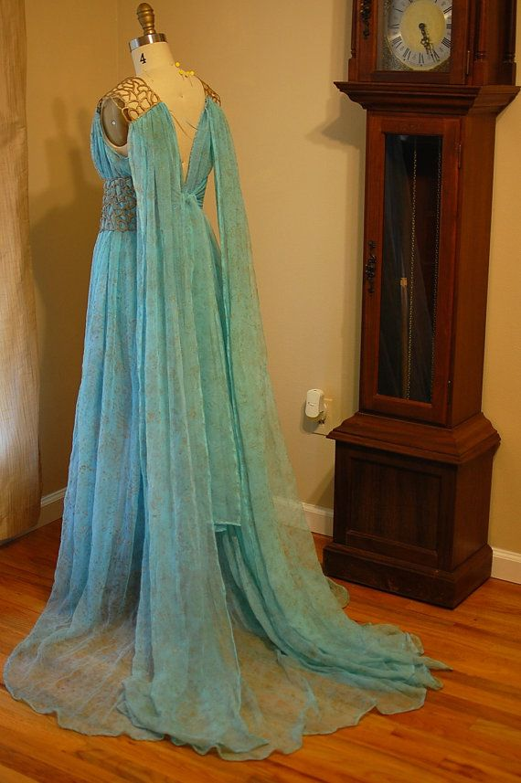 Daenerys Qarth Blue and Gold Gown Dress Costume Custom by tavariel