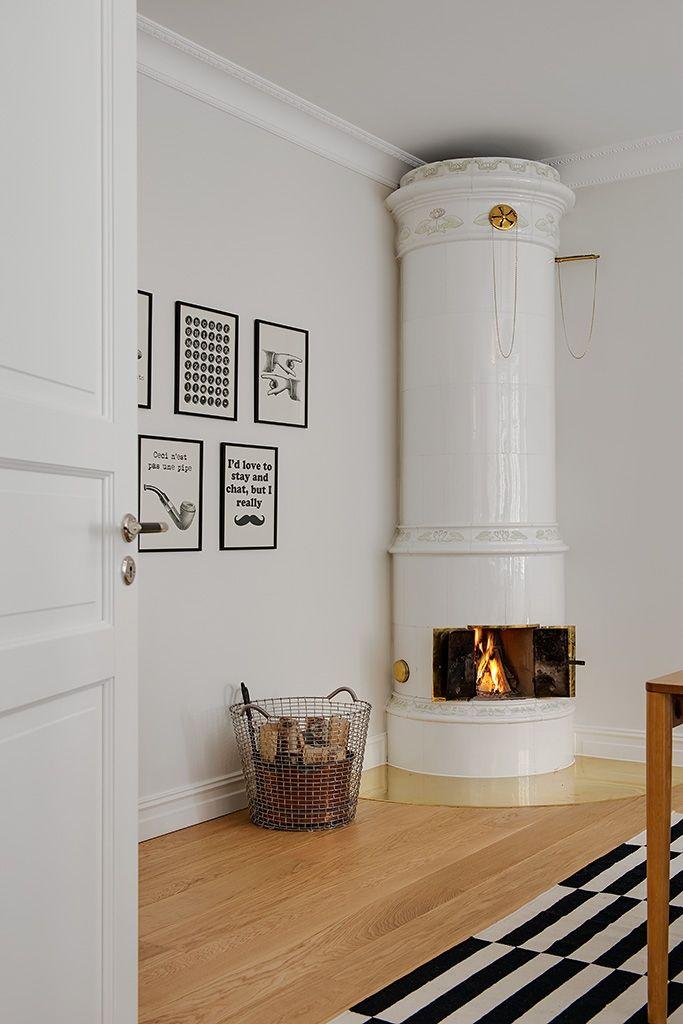 swedish tiled stove masonry heater | interior design + decorating ideas