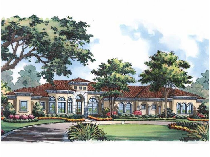 Eplans Mediterranean House Plan - One Story Mediterranean Style - 5342 Square Feet and 4 Bedrooms from Eplans - House Plan Code HWEPL14688