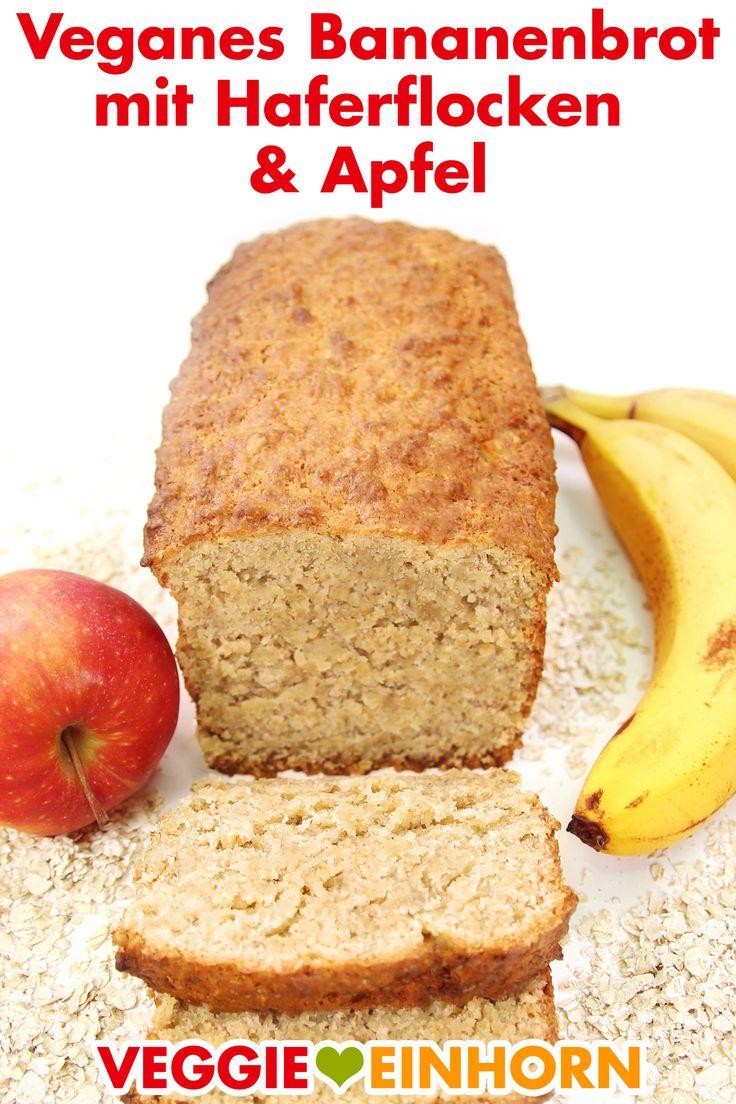 Pão de banana vegano com aveia e maçã
