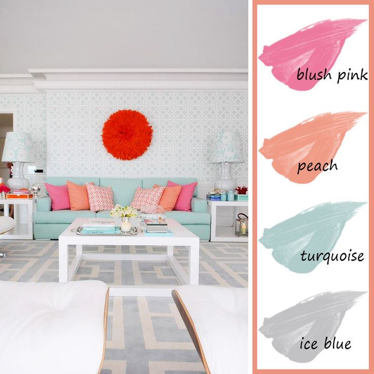 Living room color palette blue pink peach turquoise for Turquoise color scheme living room