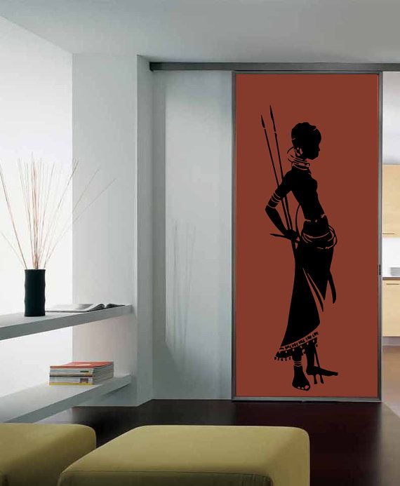 wall vinyl decal sticker removable room window african woman tk125 - Wall Vinyl Designs