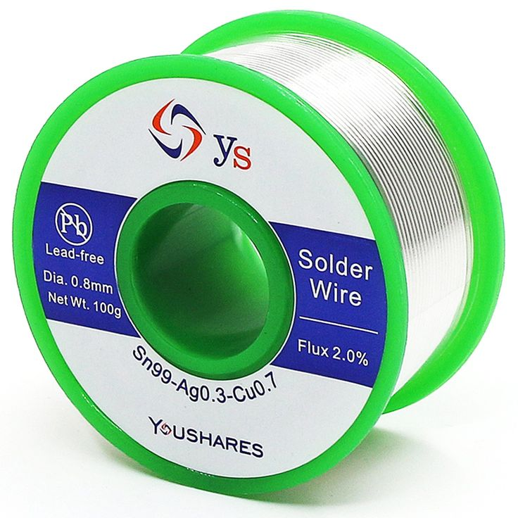 YOUSHARES Lead Free Solder Wire with Rosin Core ( 0.8mm, Sn99%-Ag0.3%-Cu0.7%, flux 2.0% ), Net Weight 0.22lb for Most Electrical Repair Soldering Purpose