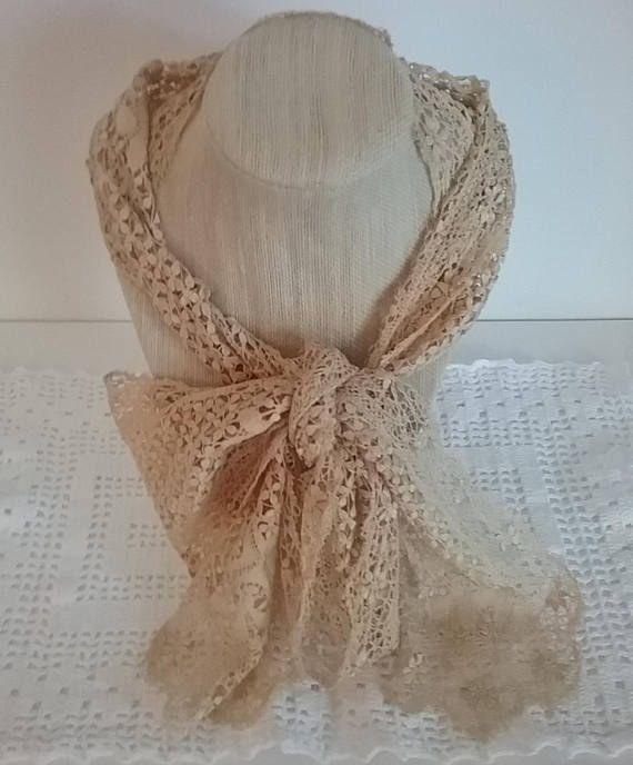 Vintage Lavish Lace Neck Scarf Gatsby Era Accessory Alencon