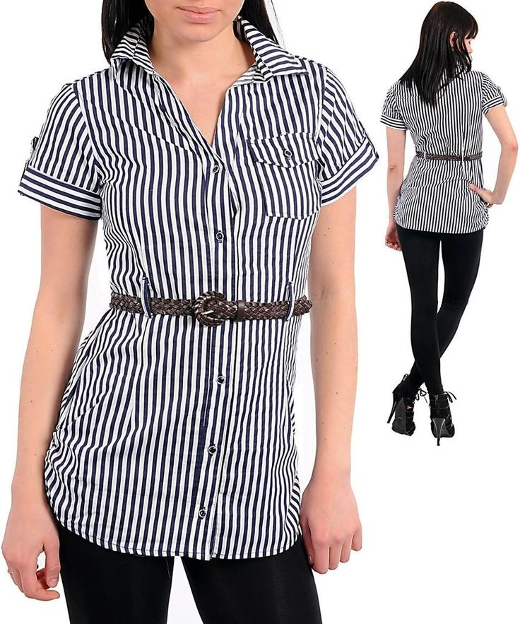 Nautical Navy Blue White Striped Button Up Belted Blouse Shirt Tunic Top