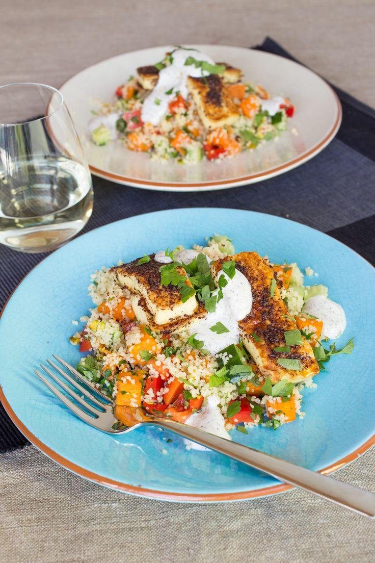 Lemon, Chilli and Sumac Grilled Haloumi with Butternut and Pistachio Couscous