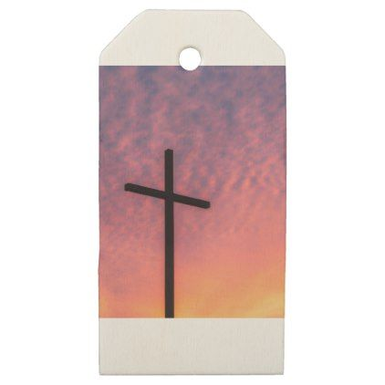 cross and sunset wooden gift tags - christmas craft supplies cyo merry xmas santa claus family holidays