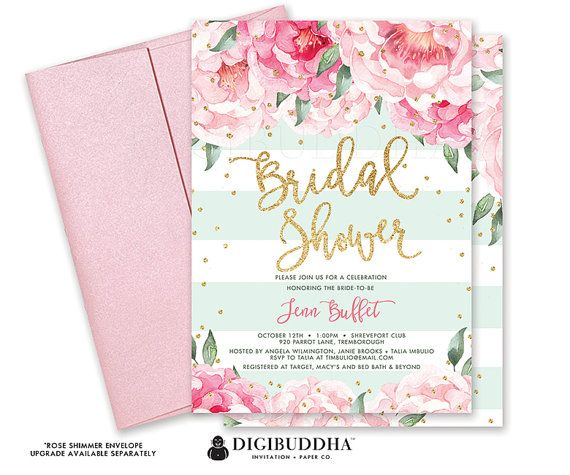 floral bridal shower invitation florals and stripes custom bridal shower invite floral bridal invite printed bridal shower invite diy jenn shower