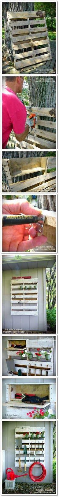 palete para guardar acessorios de jardinagem