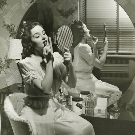 Image result for vintage pictures of women putting on makeup pretty