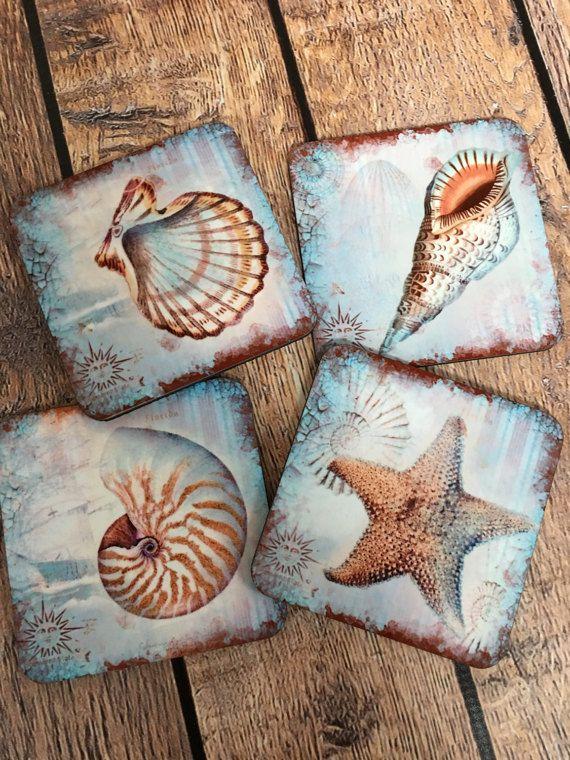 Coasters, Nautical Coasters, Beach Coasters, Lake House Coasters, Vintage Coasters, Cork back Coasters, Housewarming Gift