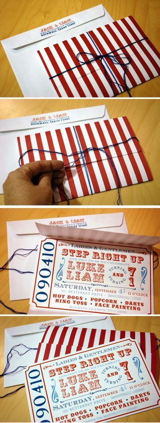 carnival invitation- red and blue